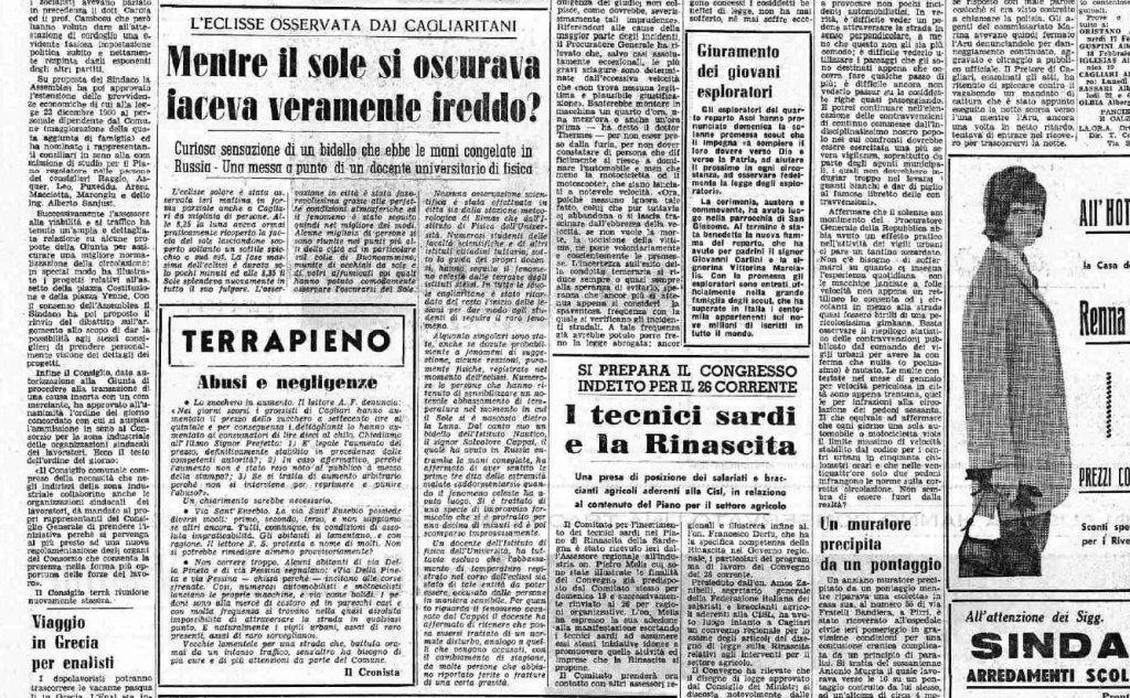L'eclisse osservata dai cagliaritani nell'articolo de L'Unione Sarda, 1961