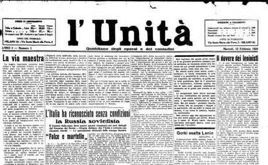 #AccaddeOggi: il 12 febbraio 1924 viene pubblicato il primo numero de L'Unità
