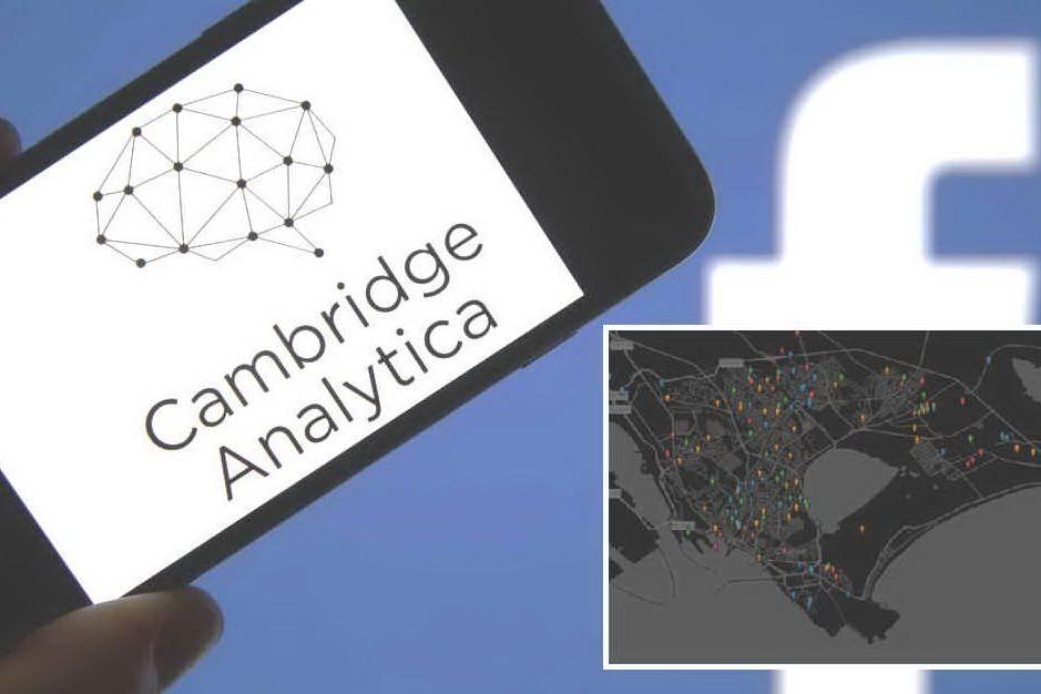 Nel riquadro la mappa di Cagliari elaborata dalla società legata a Cambridge Analytica