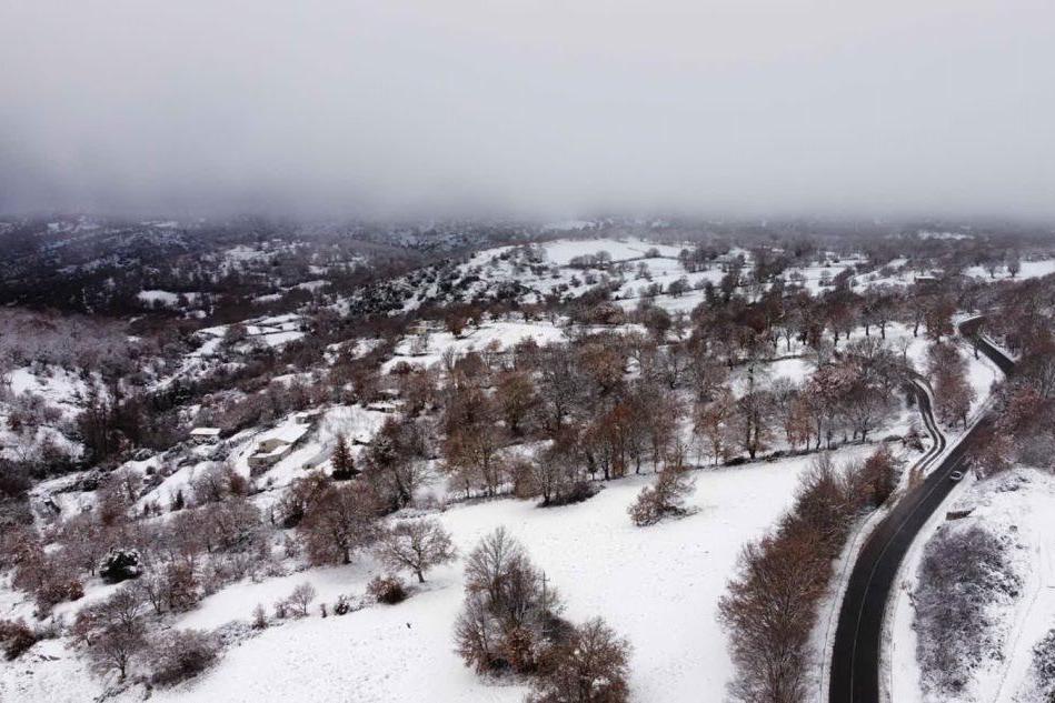 Neve a Fonni, le immagini dall'alto