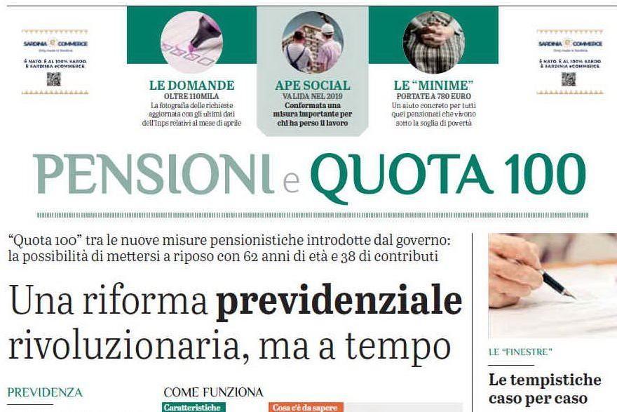 Pensioni e quota 100: l'inserto gratuito con L'Unione Sarda