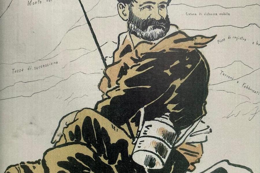 Una caricatura di Quintino Sella pubblicata sul libro Quintino Sella, lo statista con gli scarponi, a cura di Pietro Crivellaro, edito dal Cai