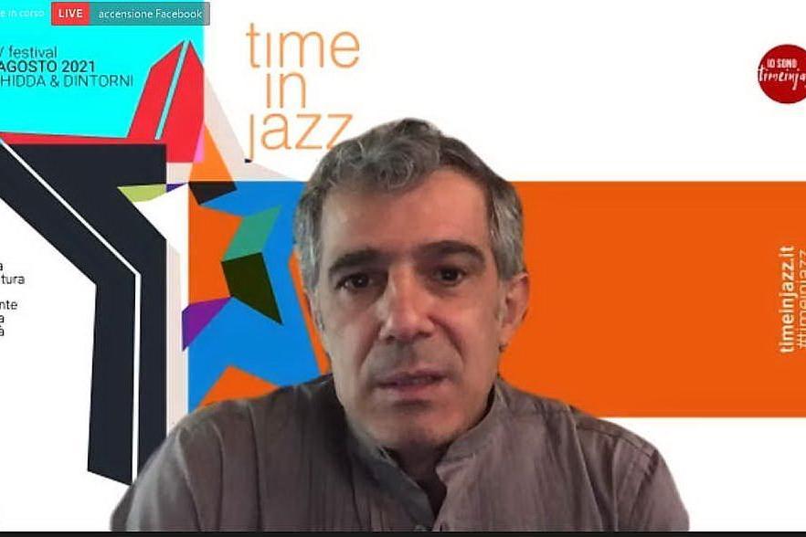 """Paolo Fresu durante la presentazone di \""""Time in Jazz 2021\"""" (foto Giagnoni)"""