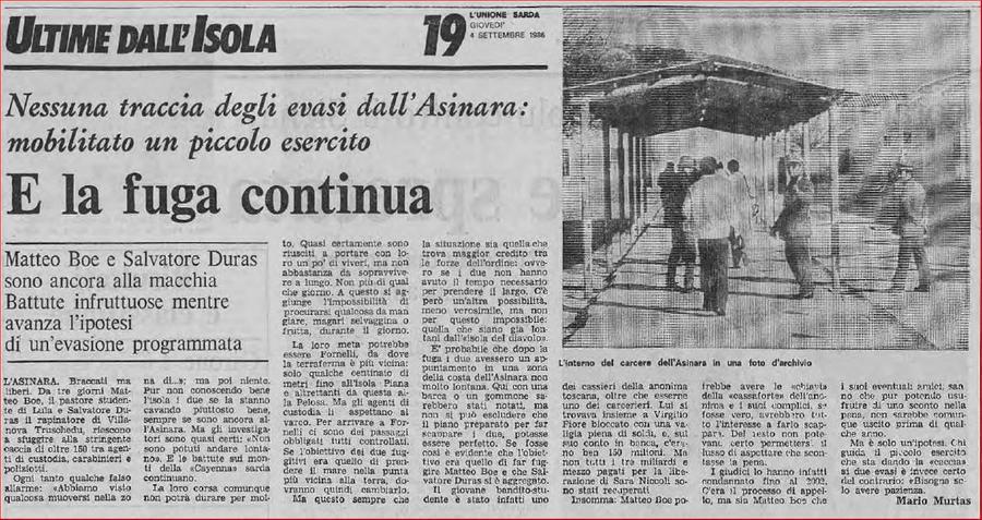 L'Unione Sarda del 4 settembre 1986