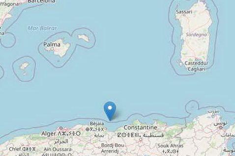 L'epicentro del sisma secondo l'Ingv