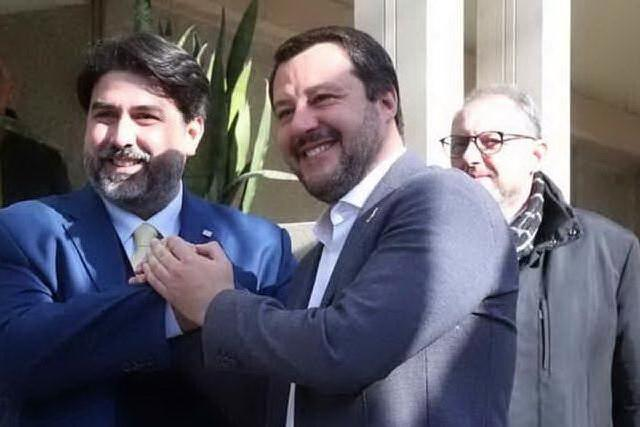 Christian Solinas e Matteo Salvini (Ansa)