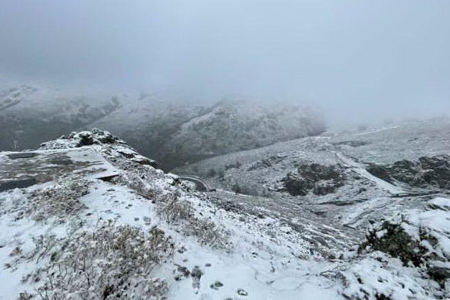 Desulo, fiocchi di neve sul Gennargentu